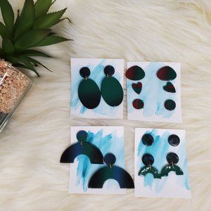 Fall Ombre Earrings Statement Big Blue Green Red F